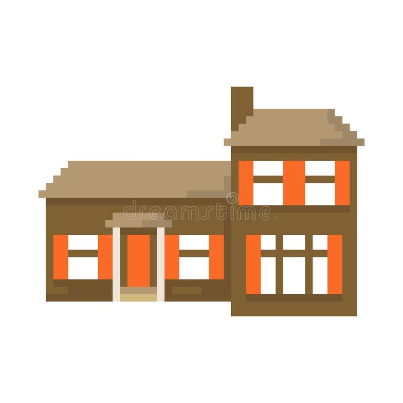 Дом пиксела изолированный на белой предпосылке Графики для игр бит 8 r иллюстрация вектора