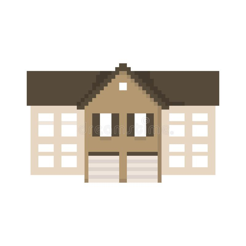 Дом пиксела изолированный на белой предпосылке Графики для игр бит 8 r бесплатная иллюстрация