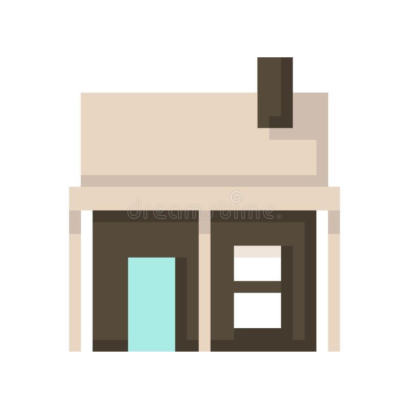 Дом пиксела изолированный на белой предпосылке Графики для игр бит 8 r иллюстрация штока