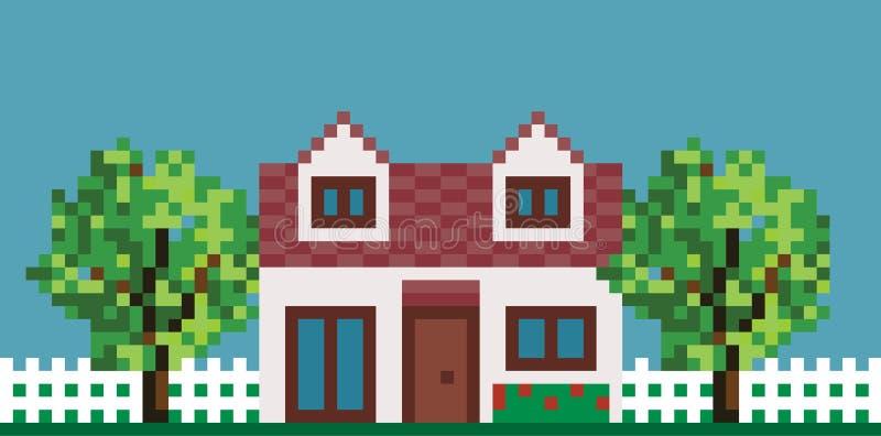 Дом пиксела с загородкой и садом иллюстрация вектора