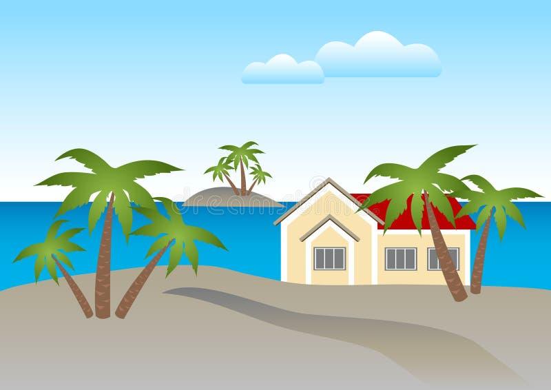 дом пляжа бесплатная иллюстрация