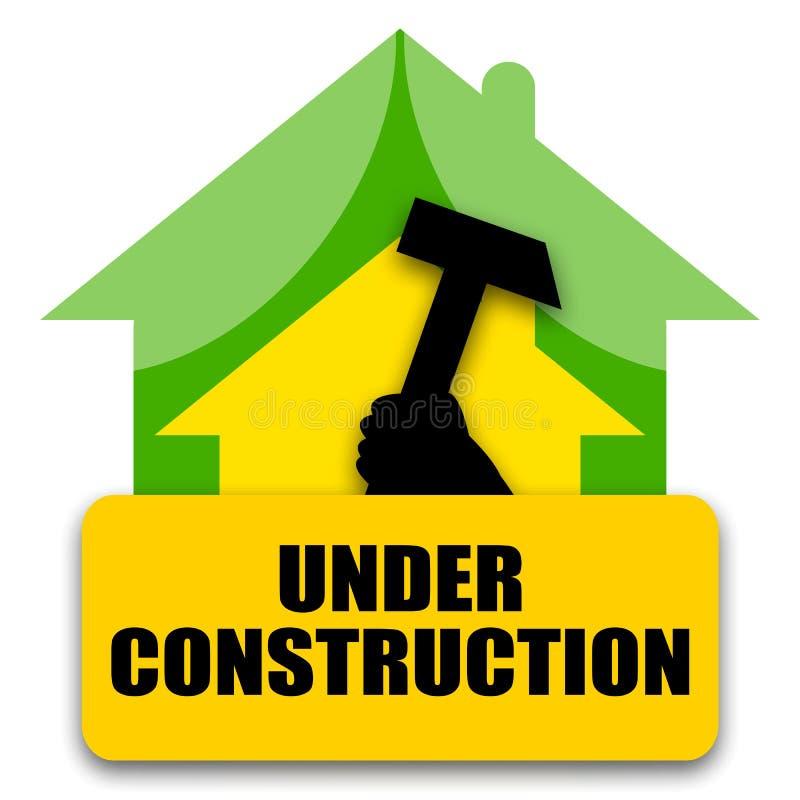 Дом под конструкцией иллюстрация вектора