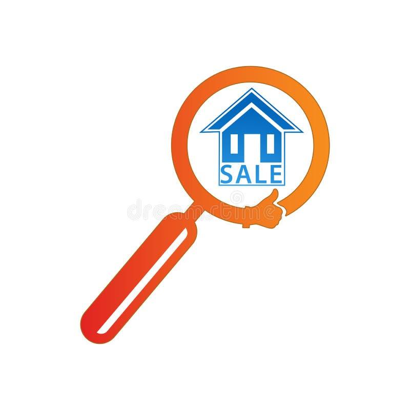 Дом поиска увеличителя славный Иллюстрация вектора логотипа иллюстрация штока