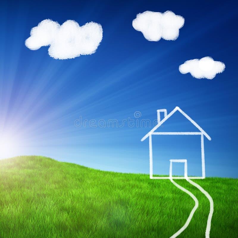дом поля чертежа зеленая иллюстрация штока