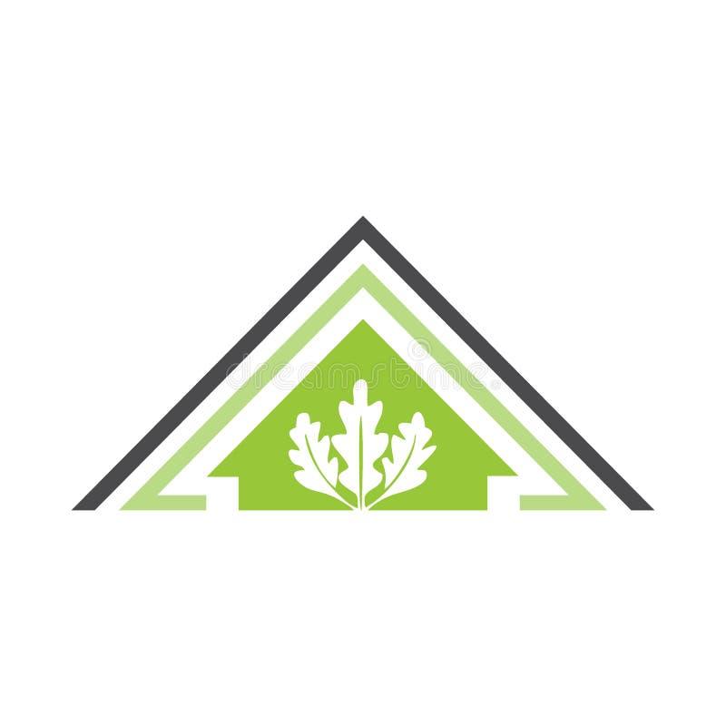Дом природы - лист Eco домашние для карточки или логотипа иллюстрация вектора