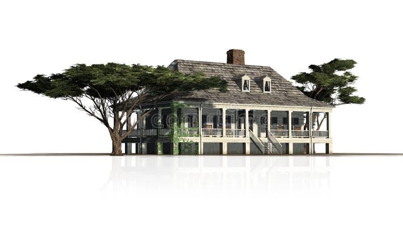 Дом плантации с сосной зонтика с отражением бесплатная иллюстрация