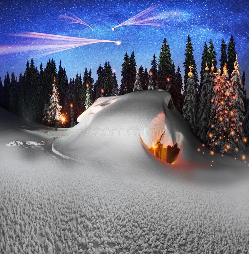 Дом рождества в Карпатах иллюстрация штока