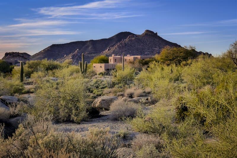 Дом самана ландшафта пустыни Аризоны стоковая фотография