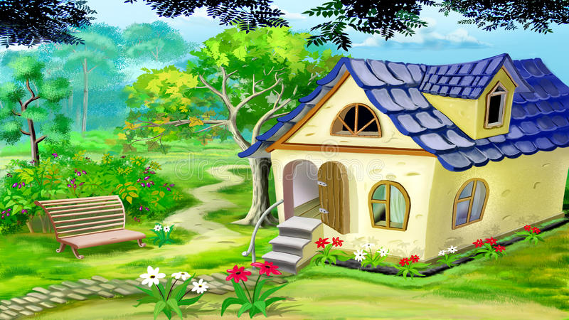 Дом сада деревни иллюстрация штока