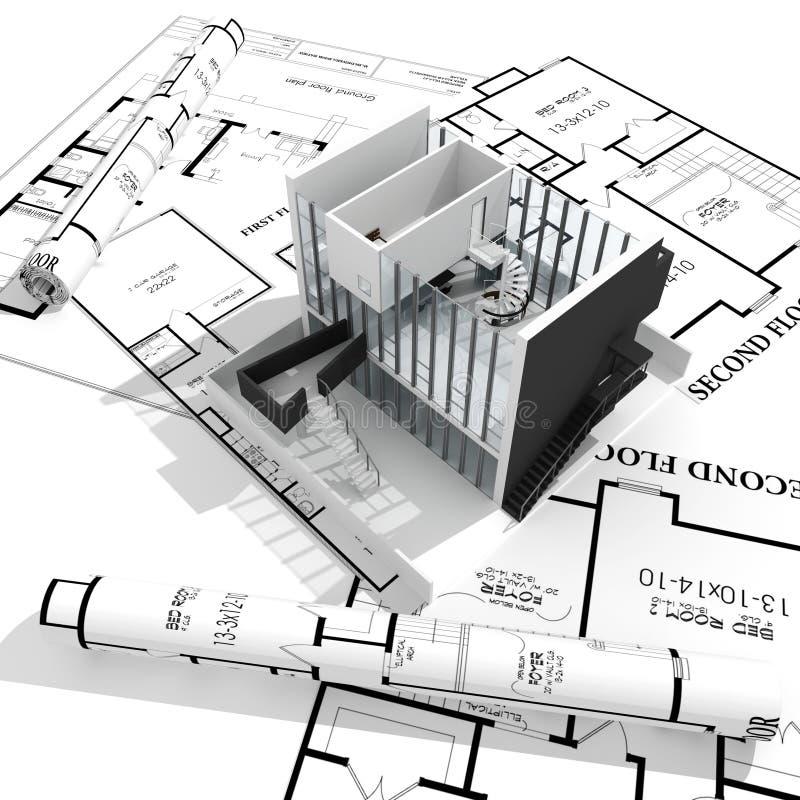 дом светокопий 3d изолировала самомоднейшую белизну бесплатная иллюстрация