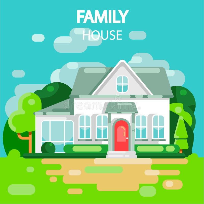 Дом семьи белый бесплатная иллюстрация