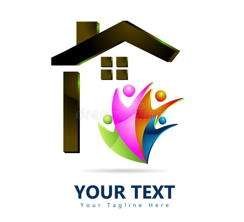 Дом семьи, домашний логотип 3D для компании бесплатная иллюстрация