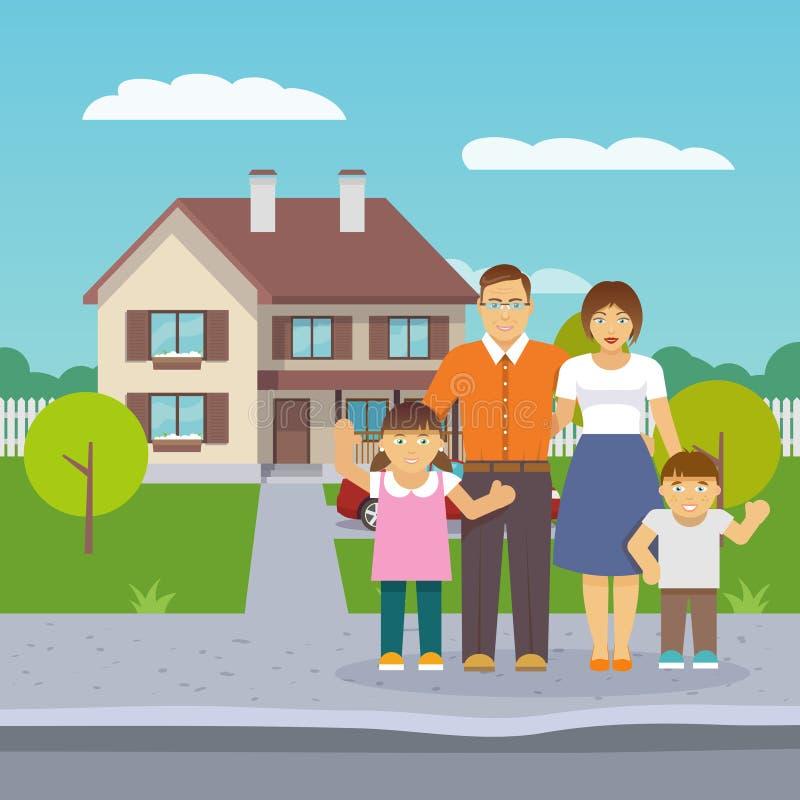 Дом семьи плоский иллюстрация вектора