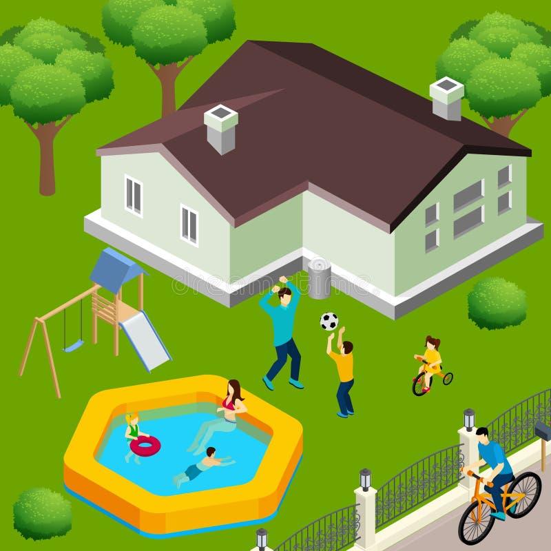 Дом семьи равновеликий иллюстрация вектора