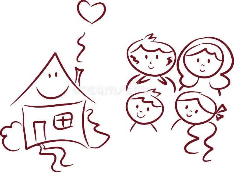 дом семьи счастливый бесплатная иллюстрация