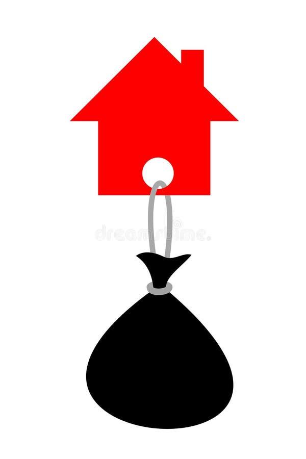 Дом семьи с тяжелой тяготой - ссудой под недвижимость иллюстрация штока