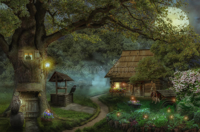 Дом сказки в лесе иллюстрация штока