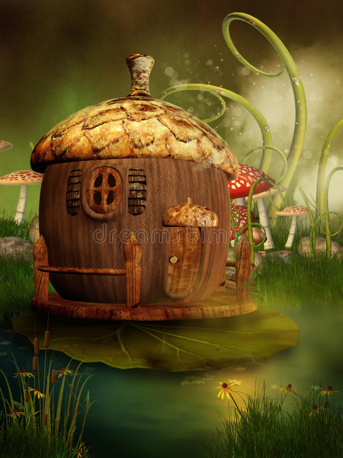 дом сказки жолудя иллюстрация штока