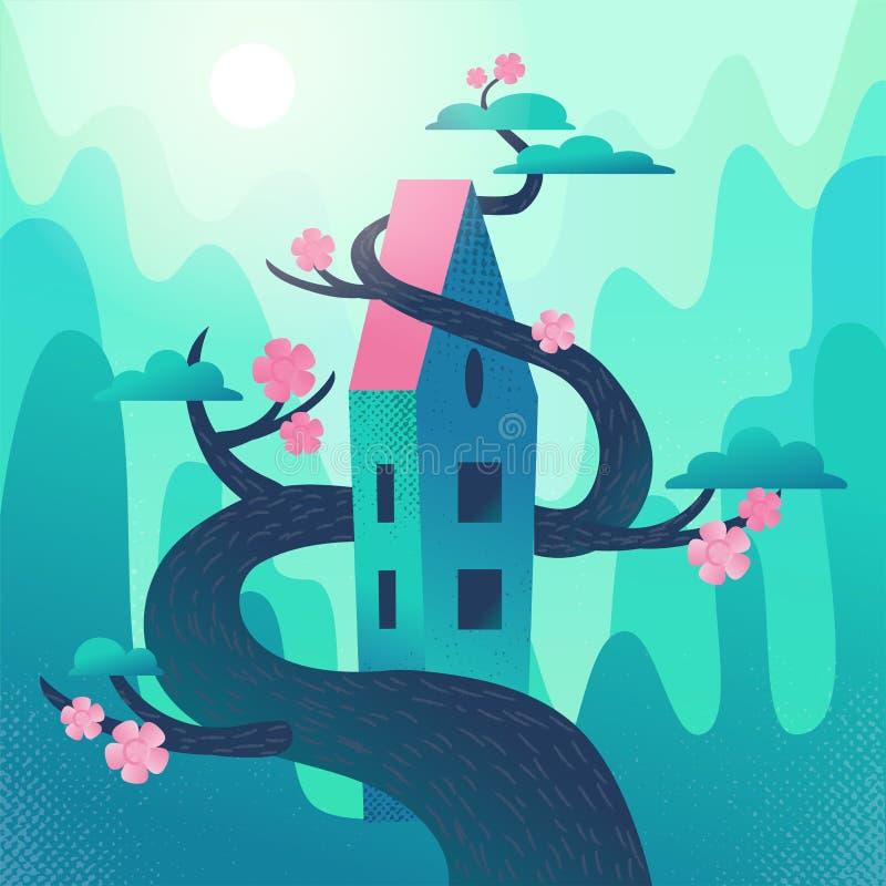 Дом сказки с крышей, переплетаннсяой с деревом на горах, предпосылка холмов Крутая погода весны, розовые glowers на зацветать иллюстрация штока