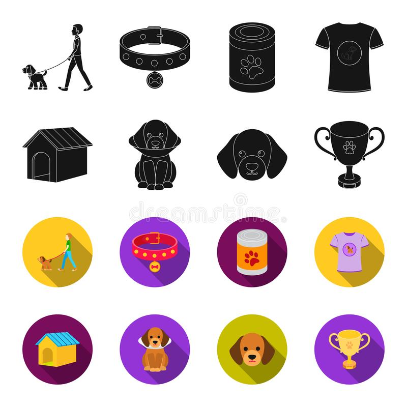 Дом собаки, защитный воротник, намордник собаки, чашка Значки в черноте, запас собрания собаки установленные символа вектора стил иллюстрация штока