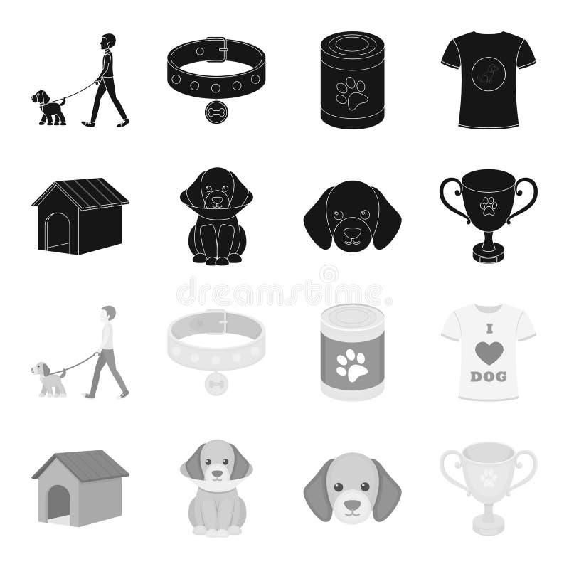Дом собаки, защитный воротник, намордник собаки, чашка Значки собрания собаки установленные в черном, monochrome запасе символа в иллюстрация штока