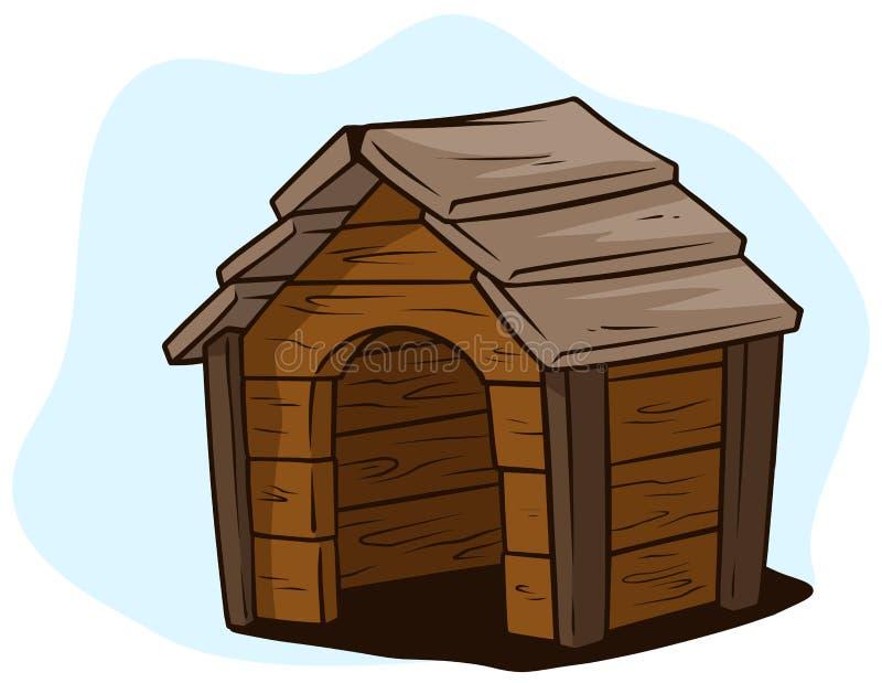 Дом собаки шаржа коричневый деревянный, значок вектора псарни иллюстрация штока