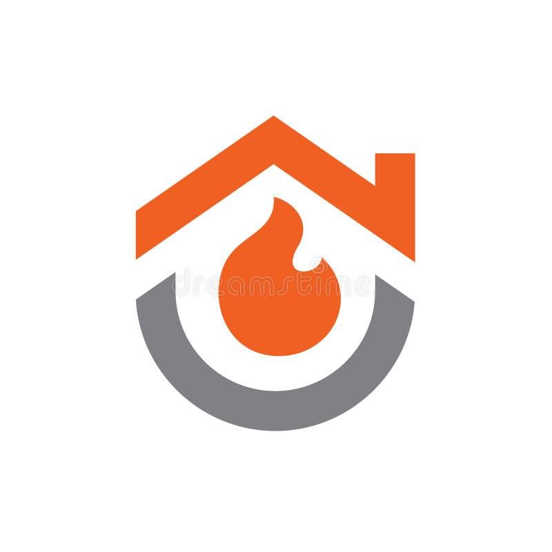 Дом совмещенный с дизайном огня, логотипа или значка иллюстрация вектора