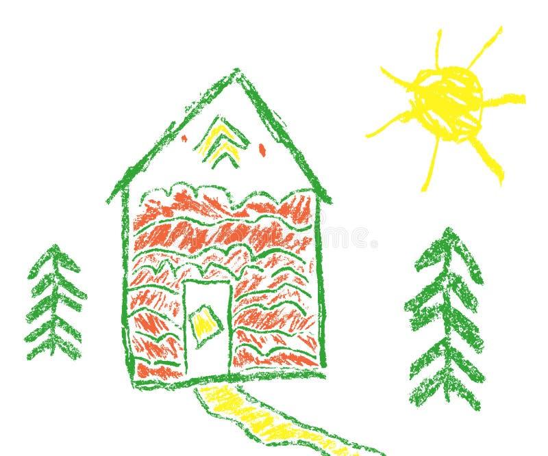 Дом, солнце, crayon воска ели любит рука ` s ребенка нарисованный бесплатная иллюстрация