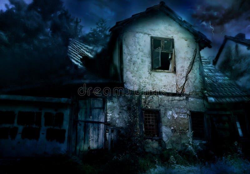 дом страшная иллюстрация вектора
