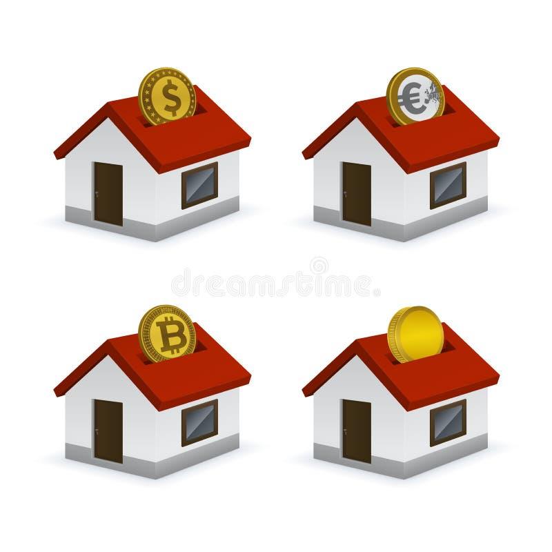 Дом сформировал значки копилки с валютами иллюстрация вектора