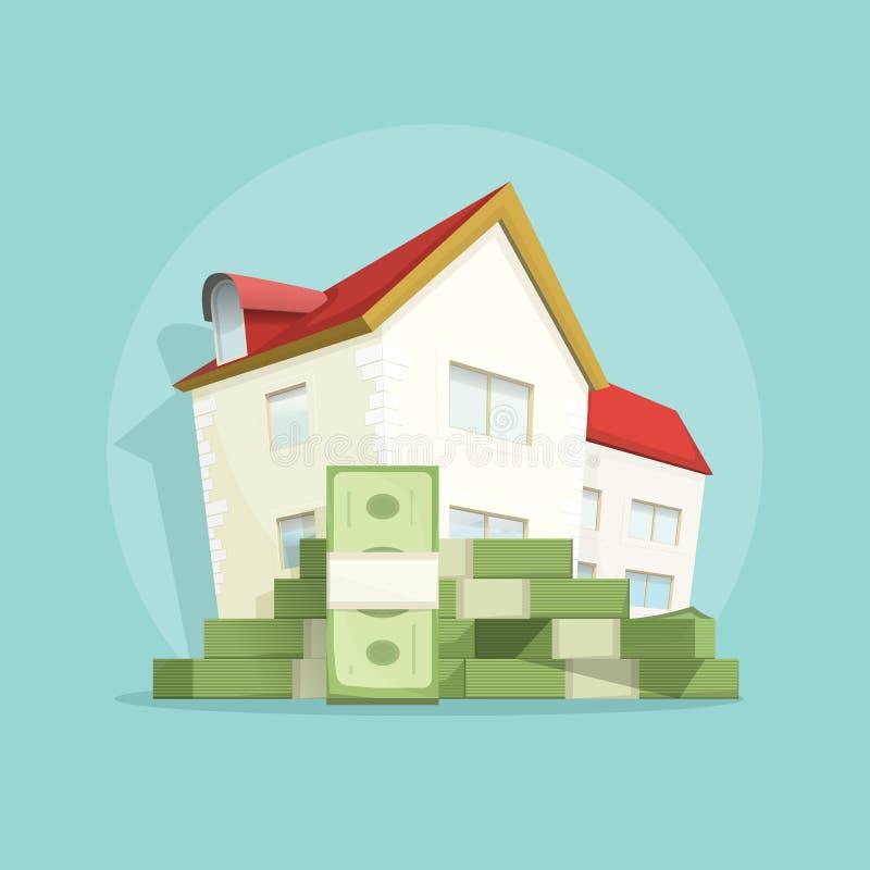 Дом с деньгами кучи, домашним символом расхода, ссудой под недвижимость концепции иллюстрация штока