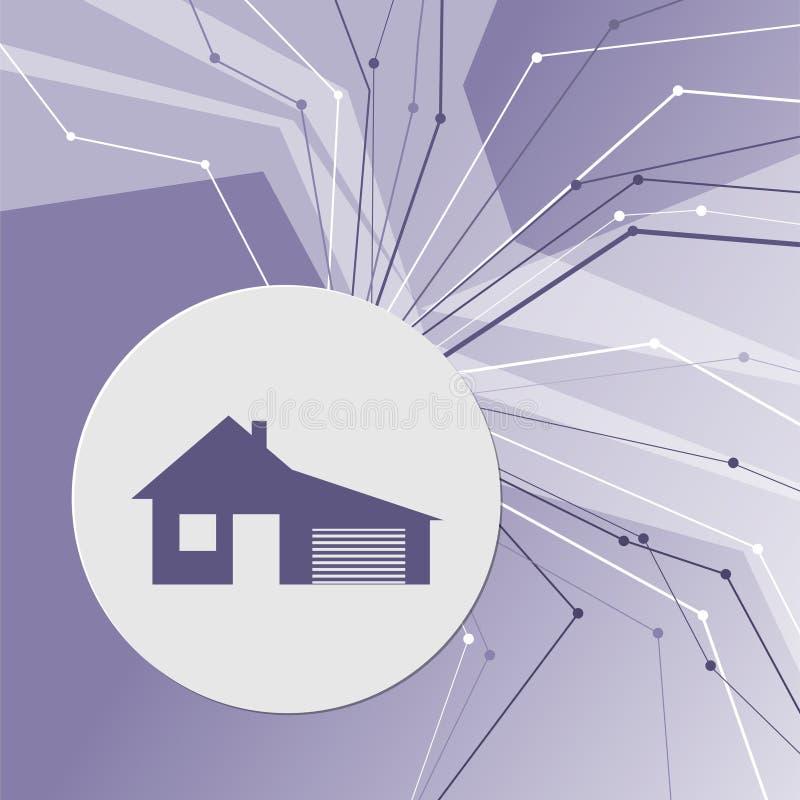 Дом с значком гаража на фиолетовой абстрактной современной предпосылке Линии во всех направлениях комната для вашей рекламы иллюстрация штока
