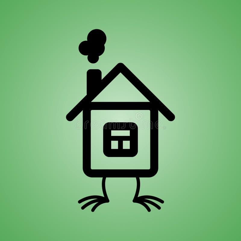 Дом с значком ног цыпленка на изолированной зеленой предпосылке Элемент вектора для вашей конструкции иллюстрация штока