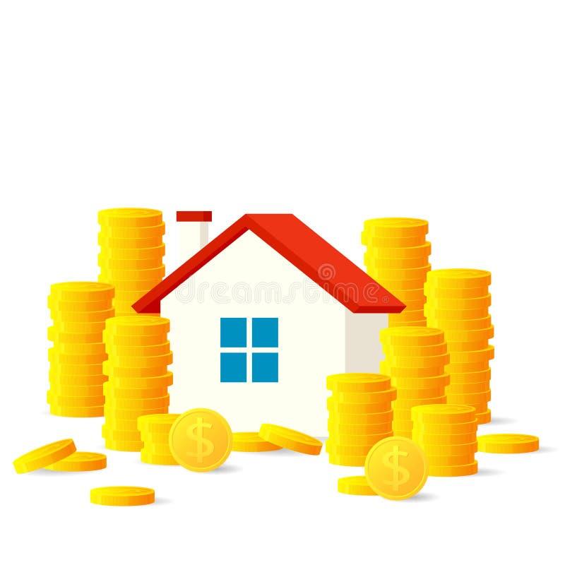 Дом с золотыми монетками иллюстрация штока