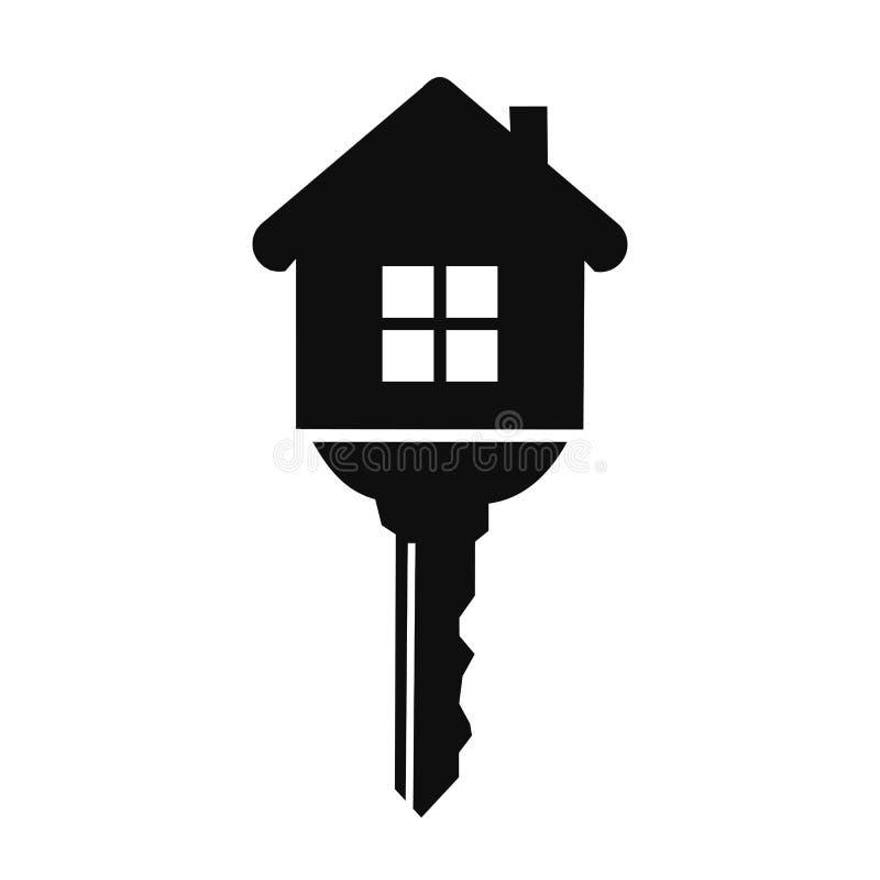 Дом с ключевым значком - вектором иллюстрация вектора
