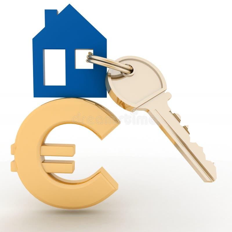 Дом с ключом на знаке евро бесплатная иллюстрация