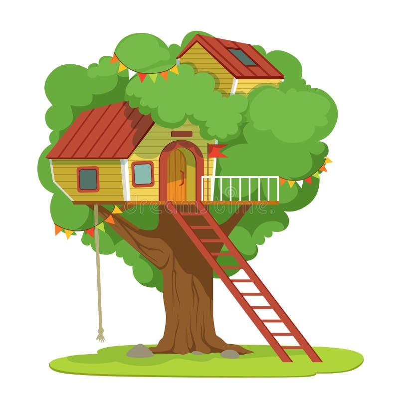 Дом с лестницей на зеленой иллюстрации вектора дерева на белой предпосылке бесплатная иллюстрация