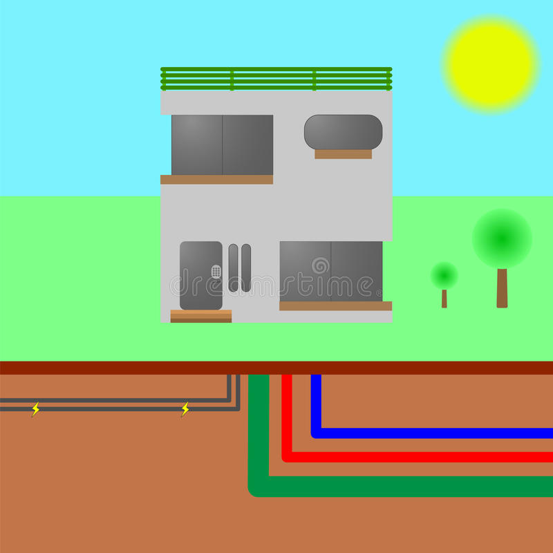 Дом с общими назначениями: вода, электричество, канализация, интернет иллюстрация штока