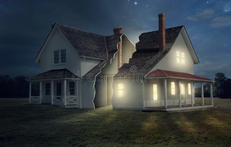 Дом с светлой и темнотой иллюстрация вектора