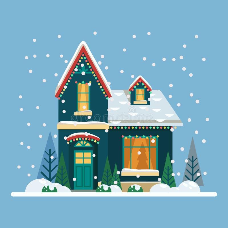 Дом с украшениями Рожденственской ночи и Нового Года иллюстрация штока