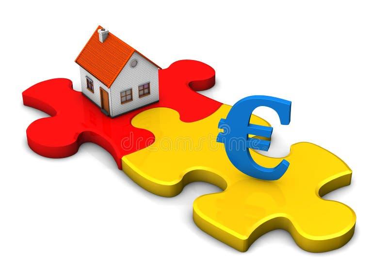 Евро головоломки дома иллюстрация штока