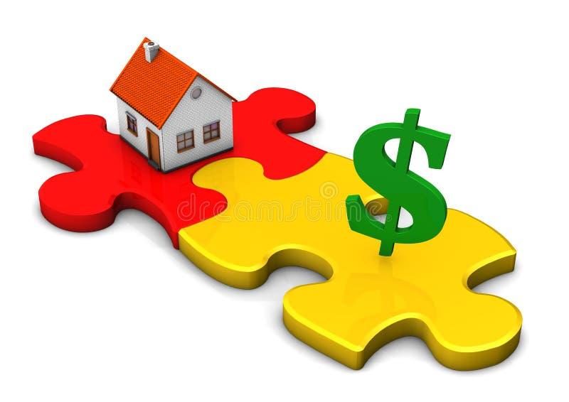 Доллар головоломки дома иллюстрация вектора