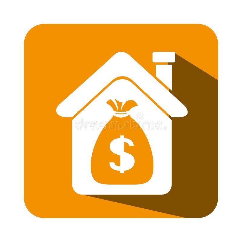 Дом с эмблемой недвижимости денег сумки иллюстрация вектора