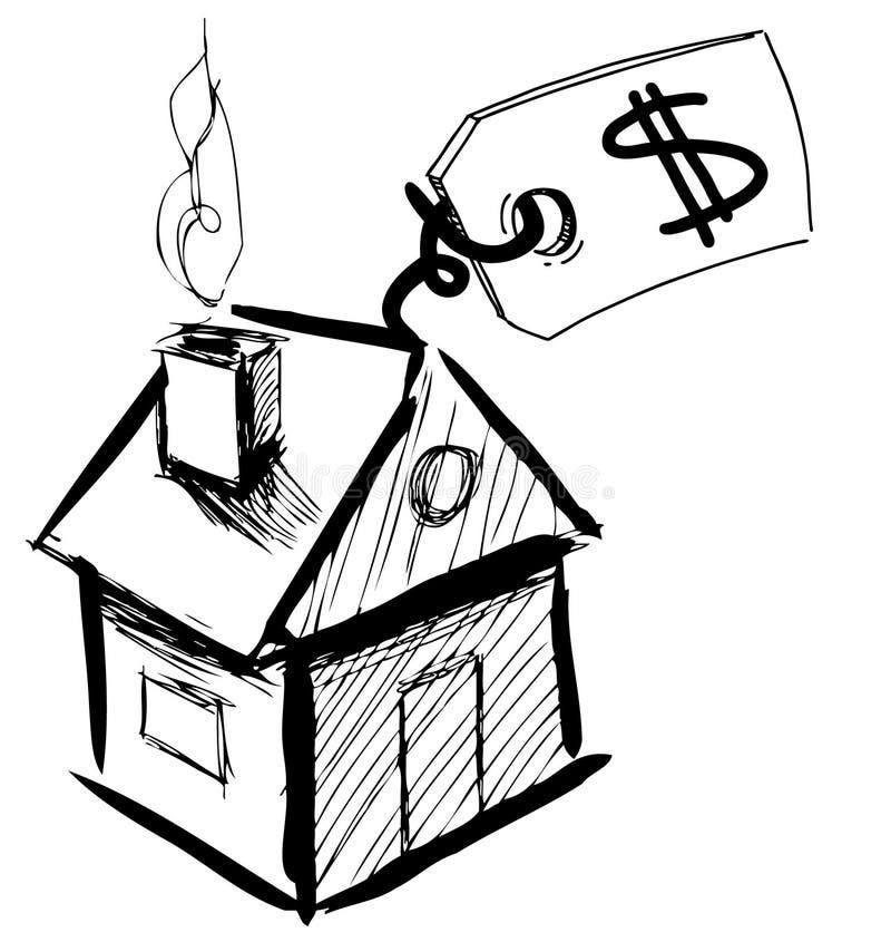 Дом с ярлыком продажи или цены бесплатная иллюстрация