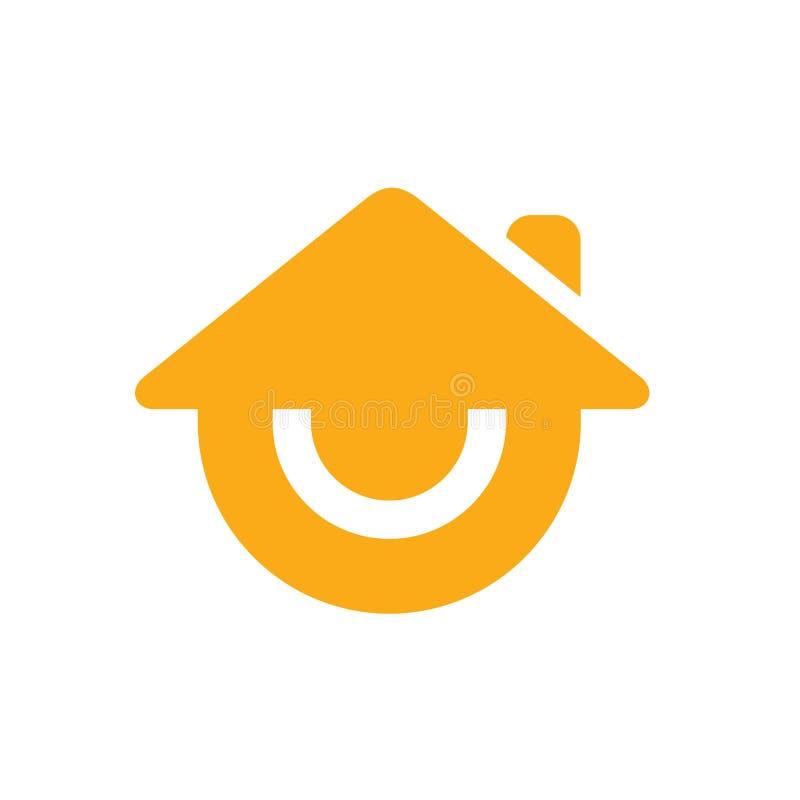 Дом улыбки или усмехаясь домашний логотип, дизайн значка вектора иллюстрация штока