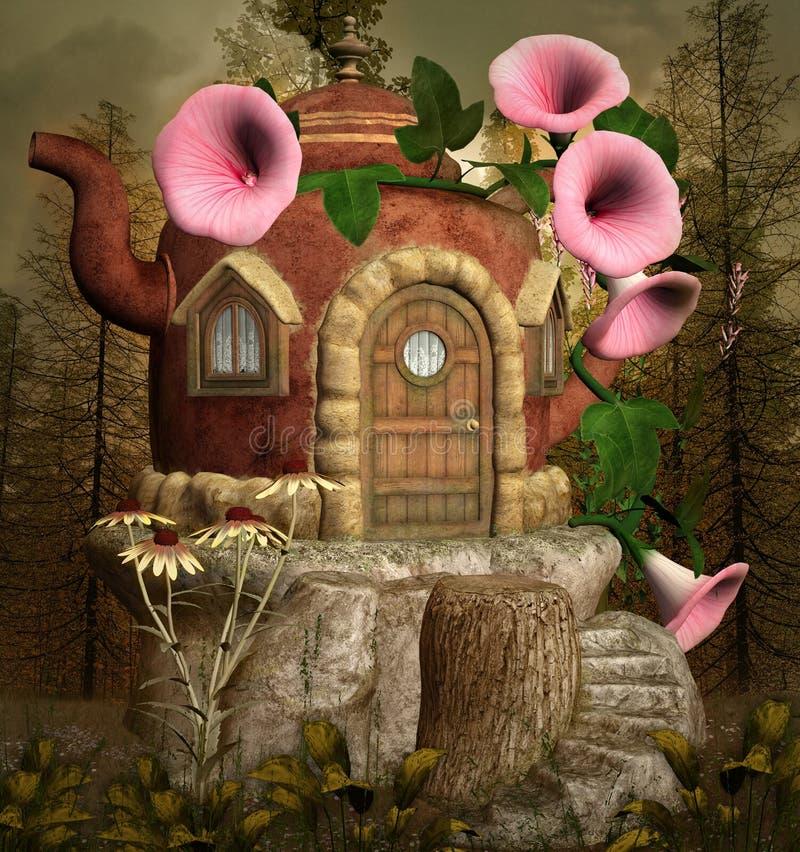 Дом фантазии чайника иллюстрация штока