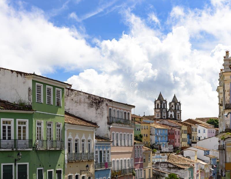 Дом, фасады и церков Pelourinho стоковое фото rf
