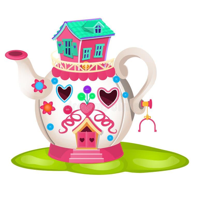 Дом феи в форме керамического чайника изолированной на белой предпосылке Иллюстрация шаржа конца-вверх вектора иллюстрация штока