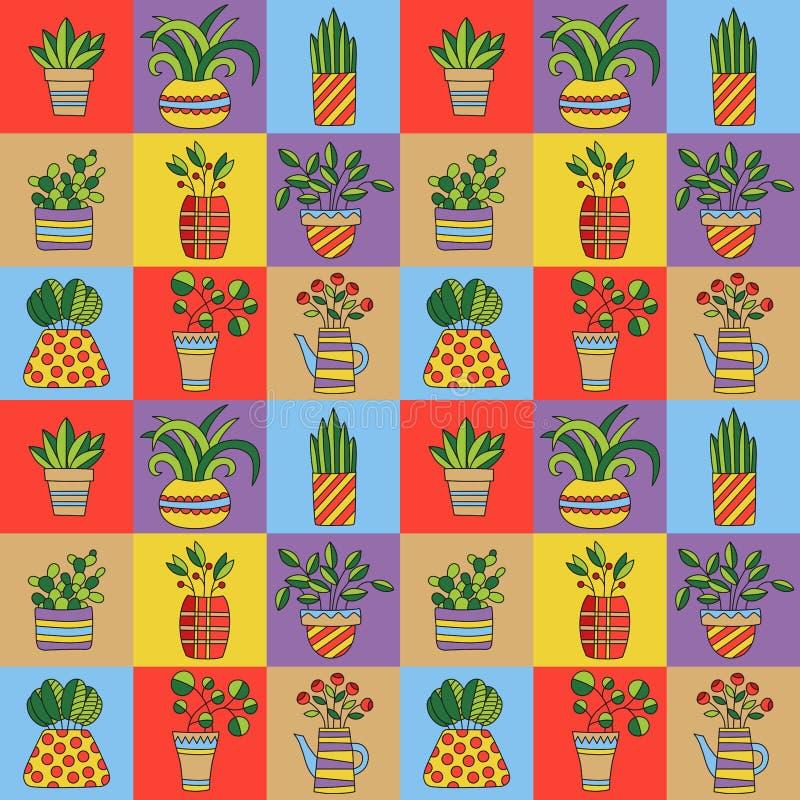 Дом цветочных горшков засаживает картину вектора doodles безшовную иллюстрация штока
