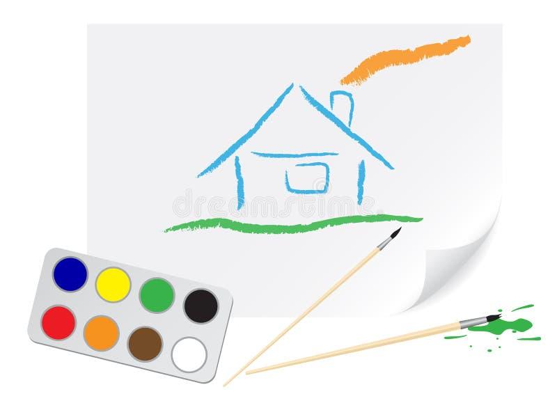 дом чертежа иллюстрация вектора